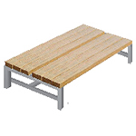Standing Wooden Double Bench